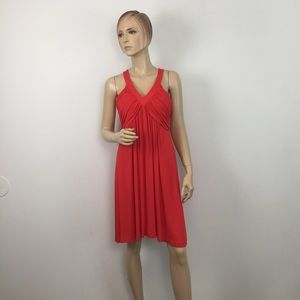 Ellen Tracy Orange Ruched Fit and Flare Dress 10